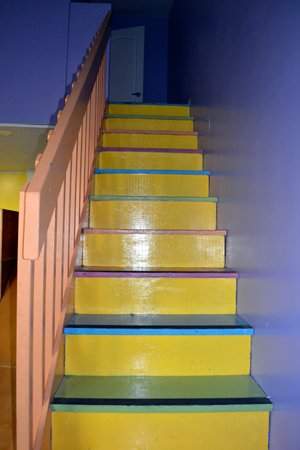 Brightly painted stairs at Windsong.